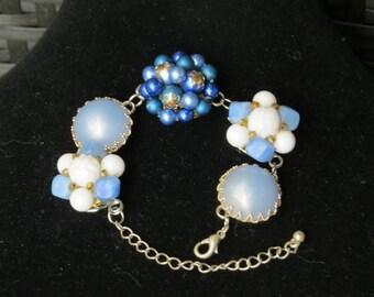 "BRACELET/ Repurposed Vintage Earring Bracelet Named ""Blue on Blue""/ Vintage Earrings/Recycled Jewelry/Reclaimed Bracelet/Blue/gifts under 25"