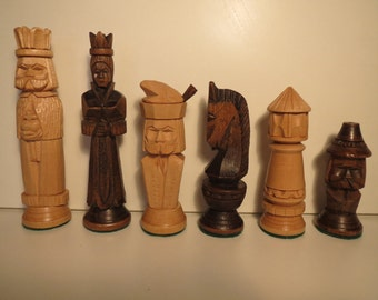 Wooden chess pieces chess crafts vintage