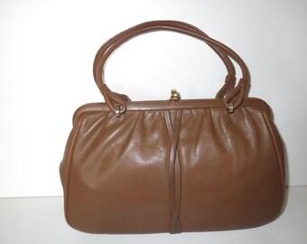 Vintage handle bag handbag brown gold leather