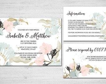 Printable Wedding Invitation - Flowers Modern Calligraphy Pastel
