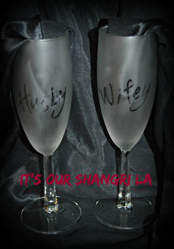 Wedding Present Champagne Glasses : Wedding gifts ~ Newlyweds Champagne Glasses ~ eteched Wifey Hu...