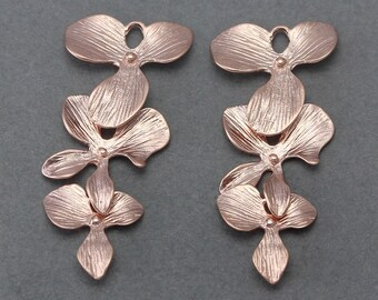 Cascading Orchid Brass Connector . Jewelry Craft Supply . Matte Rose Gold Plated over Brass  / 2 Pcs - AC039-RG