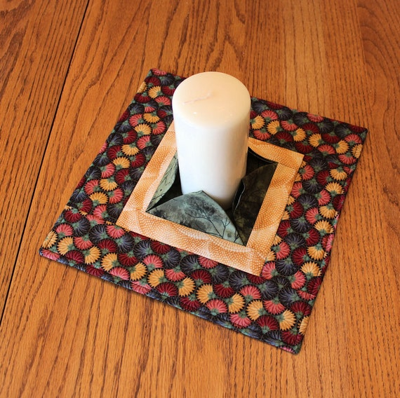 Asian Quilted Candle Mat - Fans and Leaves Large Mini Quilt - Centerpiece or Snack Mat - Flameless Candle Mat - Hostess Gift