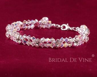 Dainty Sparkly Bridal Crystal & Diamante Rhinestone Bracelet Set Made with Swarovski Crystals