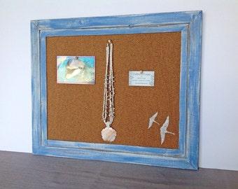 Framed cork board - bulletin board - pin board - blue frame - beach decor