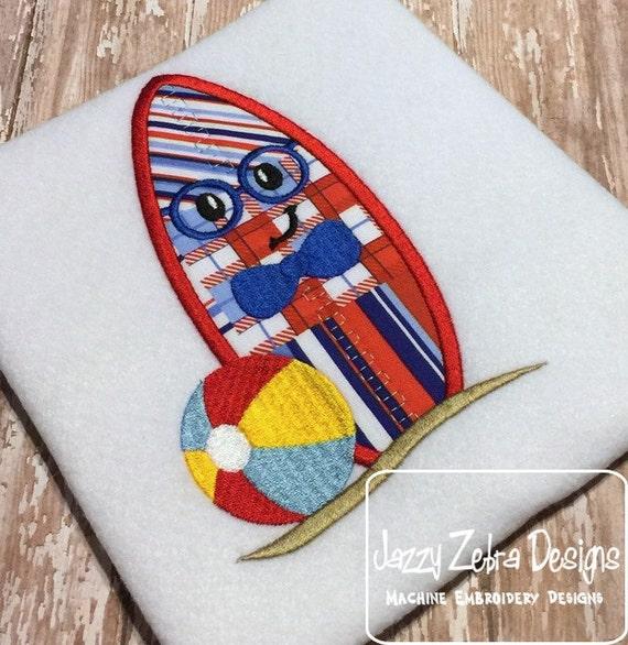 Boy surf board wearing glasses appliqué embroidery design