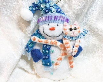 Handmade snowman with cat ornament