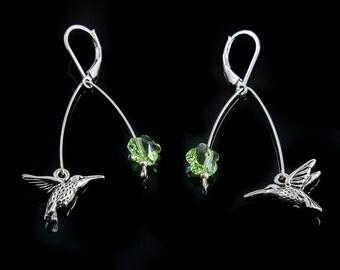 Hummingbird Earrings, Sterling Silver Leverback, Green Peridot Swarovski Crystal Flower, Feeding Hummingbirds, Handmade HummingBird Earrings