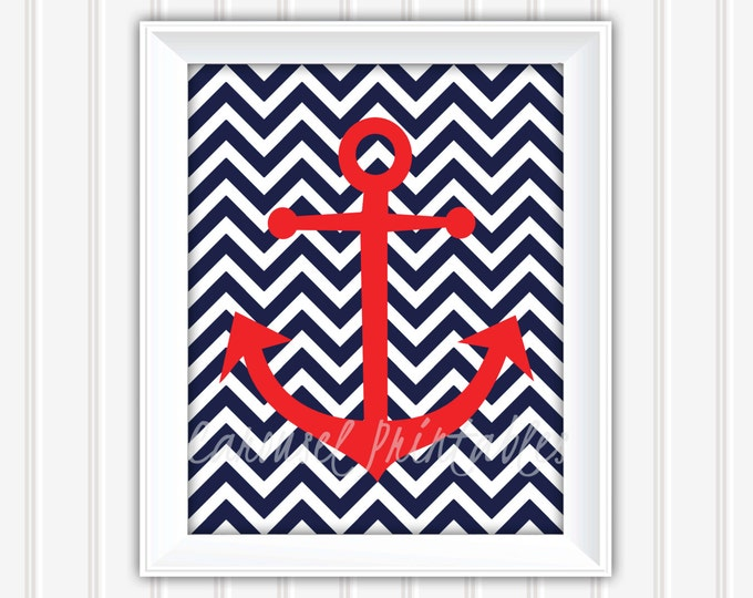 Anchor Wall Art, Nautical Wall Art, Printable Wall Art, Instant Download, Childrens Wall Art, Kids Wall Art, Nursery Wall Art, DIY Wall Art