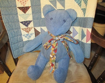 Upcycled Handmade Denim Teddy Bear