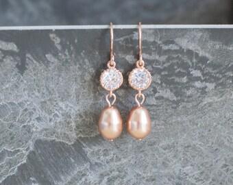 Pink gold wedding jewelry rose gold bridal earrings blush gold earrings blush crystal earrings blush bridal jewelry blush bridesmaid earring