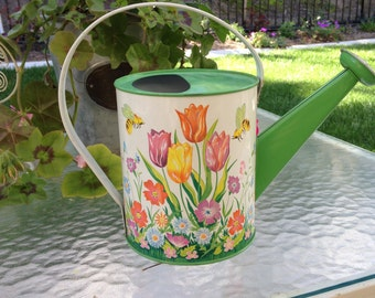 Vintage Ohio Art Tin Child Size Watering Can Tulips & Bees