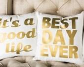 Best Day Ever Pillow, Wedding Pillow, Bridal, Metallic Gold, Metallic Silver, Custom Pillow