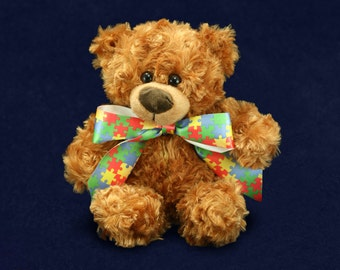 Puzzle Piece Autism Teddy Bear (RETAIL) (RE-TBEAR-2P)