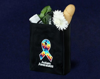 25 Autism Awareness Grocery Tote Bags (25 Bags) (TBAG-04T-2BK)