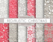 Red snowflakes christmas digital paper, chalkboard christmas, rustic christmas, xmas digital paper,  Holiday clipart, christmas clipart