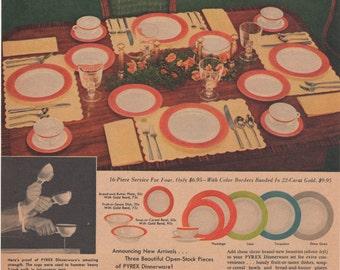 Vintage Pyrex Dinnerware Dishes Magazine Ad 1954 1st Anniversary