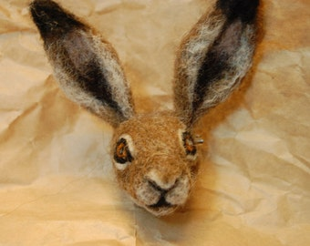 Made to order: Needle felted hare badge