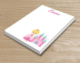 Personalized Kids' Notepad - Princess Notepad for Girls - Pink Princess Note Pad - Custom Princess Notepad with Name - 3 Sizes Available