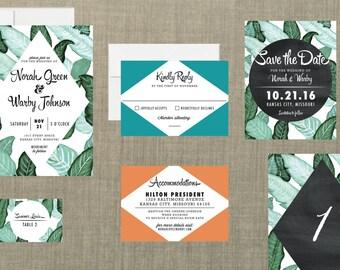 Retro Botanical Wedding Invitation // DIY Printable // Retro Wedding, Banana Leaf Invitation, Botanical Wedding, Spring Wedding