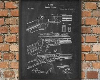 Gun Patent Print - Rifle Magazine Patent - Hunting Rifle - Gun Enthusiast Gift Idea - Hunting Patent Wall Art Poster