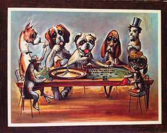 Miree Art (Big-eyed dogs) on Cork Board - Dogs at the Roulette table in a bar