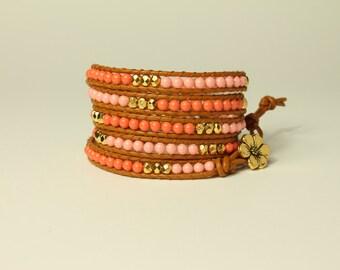 Handmade Leather 5 Wrap Bracelet with Pink and Salmon Swarovski Pearls
