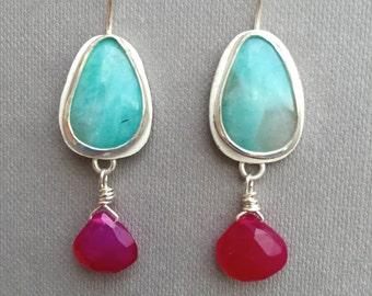 Amazonite and Raspberry Chalcedony Earrings - made to order- Turquoise Earrings, Unique Earrings, Hot Pink, Beach Jewelry, Boho Earrings