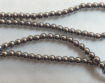 4mm Silver Hematite Beads - Non-magnetic