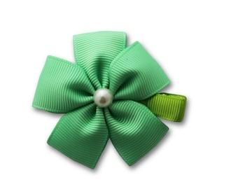 Mint green hair bow, green flower clip, green flower bow,green petal bow,  flower hair clip,petal hair clip, hair accessories,