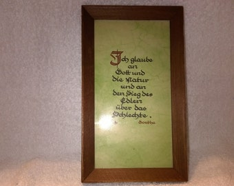 Vintage Framed Quote - Goethe