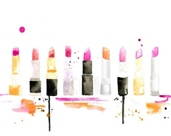 Shades of Pink - Lipstick Fashion Illustration Watercolor Painting Print - Home decor and wall art