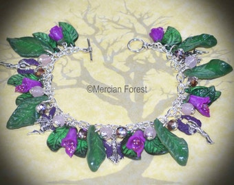 Solstice Dance of the Sidhe Foxglove Bracelet - Fairy Pagan Jewellery, Summer