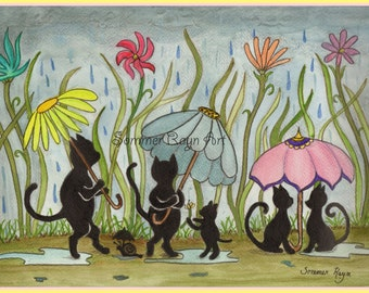 Kitties with Flower Umbrellas playing in the rain, colorful silhouette card or print, Watercolor, Item #0227a