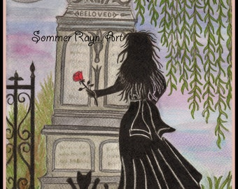 Dearly Deaprted, Gothic Graveyard, Card or Print, Watercolor, Item #0235a