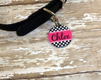 Black & white Polka Dot Tag - hot pink-Pet ID {Double sided}-Choose your color-Custom dog/cat tag-Pet name tag-Cute dog tag