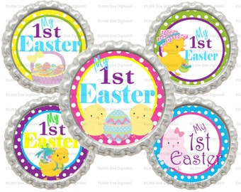 """Instant Download My First Easter 1"""" Circle Bottle Cap Images"""