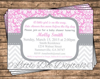 Personalized Pink Damask and Gray Chevron Baby Shower Invitation - Printable Digital File