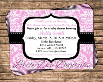 Personalized Pink and Black Damask Baby Shower Invitation - Printable Digital File