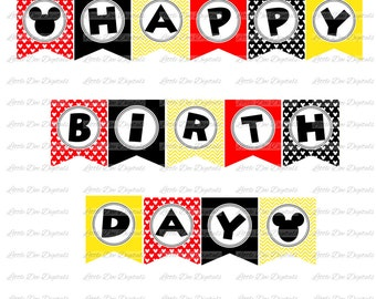 Boy Mouse Red Black and Yellow Happy Birthday Banner - DIY Instant Download Printable Bunting Pennant Sign