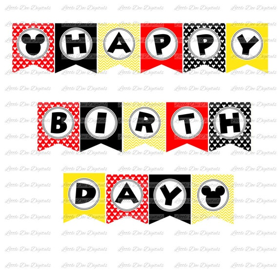 Boy Mouse Red Black And Yellow Happy Birthday Banner