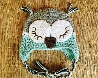Crocheted sleepy owl, baby boy hat, owl earflap, baby boy accessory, baby gift, photo prop, crocheted baby boy owl hat