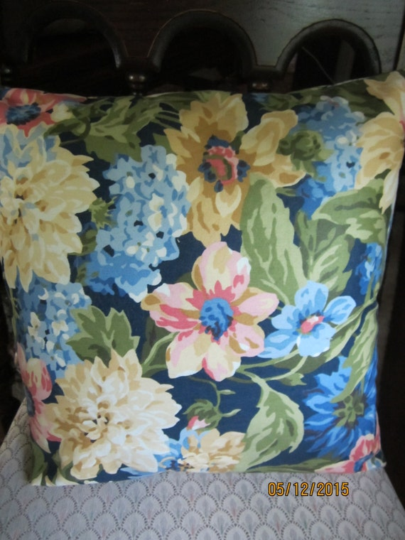 Blue watercolor floral print throw pillow 16 inch square