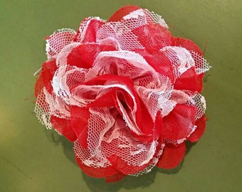 Red and White Chiffon and Lace Flower Hair Clip - can attach to looped headband