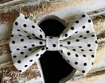 Cream with Black Polka Dots Fabric Hair Bow