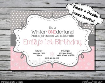 Winter Wonderland Invitation Birthday Party Pink Snowflake - Editable Printable Digital File with Instant Download