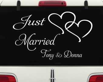 Just Married Car Window Decal #3 Personalized with Two Hearts