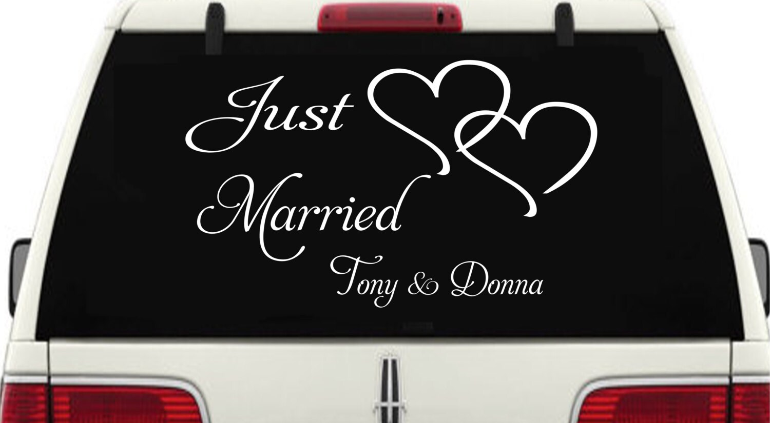 Just Married Car Window Decal Personalized With Two Hearts - Personalized window decals for cars