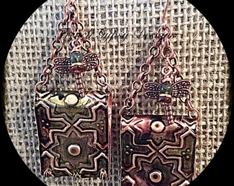 Embossed Copper Earrings with Patina