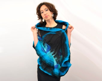 Turquoise silk shawl. Nuno felted scarf, scarves to dress, natural silk,  merino wool, eco materials